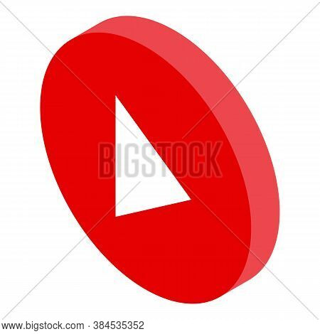 Podcast Play Button Icon. Isometric Of Podcast Play Button Vector Icon For Web Design Isolated On Wh
