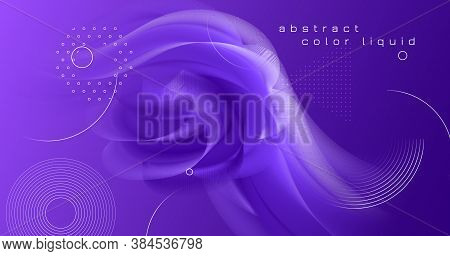 3d Fluid Vector. Neon Vibrant Motion. Gradient Template. Liquid Music 3d Fluid Vector. Geometric Wav