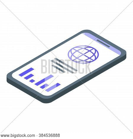 Outsource Global Smartphone Icon. Isometric Of Outsource Global Smartphone Vector Icon For Web Desig