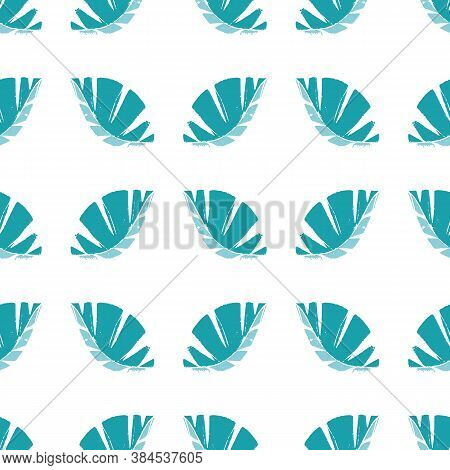 Geometric Mono Print Style Leaves Seamless Vector Pattern Background. Textured Cut Out Aqua Blue Fol