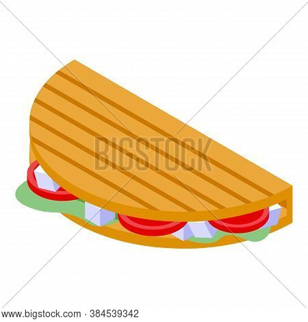 Greek Sandwich Icon. Isometric Of Greek Sandwich Vector Icon For Web Design Isolated On White Backgr