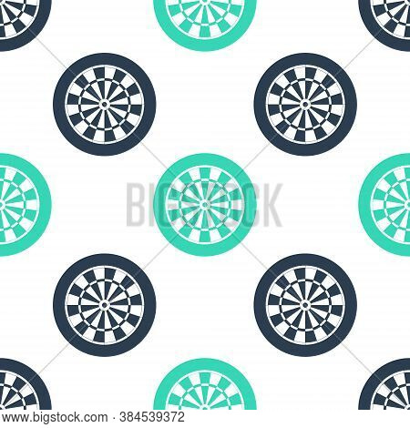 Green Classic Darts Board With Twenty Black And White Sectors Icon Isolated Seamless Pattern On Whit