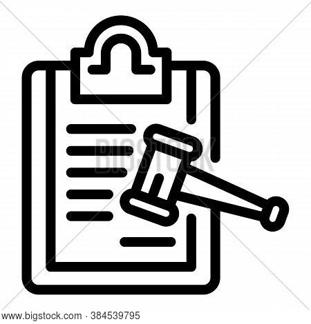 Certificate Gavel Approved Icon. Outline Certificate Gavel Approved Vector Icon For Web Design Isola