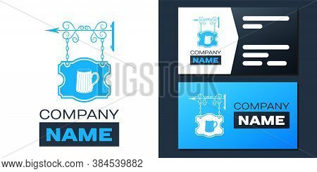 Logotype Street Signboard On Forged Brackets With Wooden Mug Of Beer Icon Isolated On White Backgrou