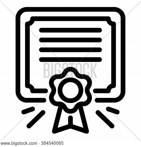 Certificate Diploma Icon. Outline Certificate Diploma Vector Icon For Web Design Isolated On White B