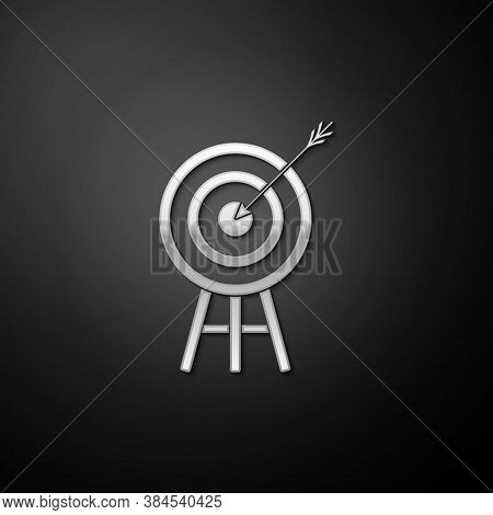 Silver Target With Arrow Icon Isolated On Black Background. Dart Board Sign. Archery Board Icon. Dar
