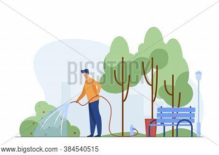 Man With Hose Watering Bush In City Park. Gardener, State Worker, Municipal Service Flat Vector Illu