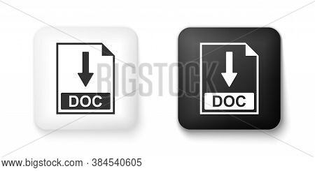Black And White Doc File Document Icon. Download Doc Button Icon Isolated On White Background. Squar