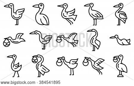 Stork Icons Set. Outline Set Of Stork Vector Icons For Web Design Isolated On White Background