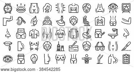 Body Correction Icons Set. Outline Set Of Body Correction Vector Icons For Web Design Isolated On Wh