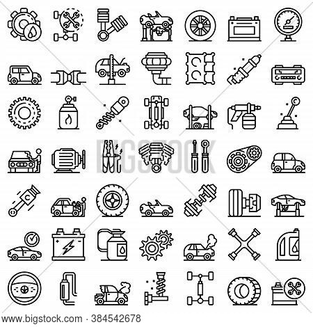 Car Mechanic Icons Set. Outline Set Of Car Mechanic Vector Icons For Web Design Isolated On White Ba