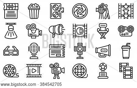 Cinematographer Icons Set. Outline Set Of Cinematographer Vector Icons For Web Design Isolated On Wh