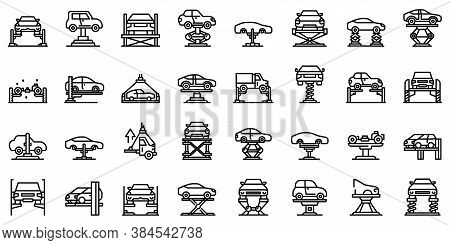 Car Lift Icons Set. Outline Set Of Car Lift Vector Icons For Web Design Isolated On White Background