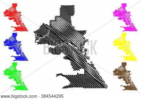 Royal Town Of Klang City (malaysia, Selangor State) Map Vector Illustration, Scribble Sketch City Of