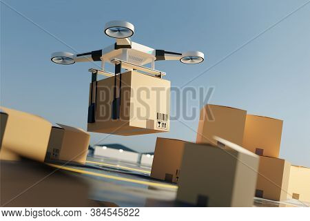A Drone Quadcopter Lifting Off The Ground Carrying A Large Parcel. Drone Delivery Service. 3d Illust