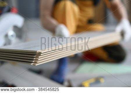 Laminate Flooring On Background Of Master. Diy Laminate Flooring Concept