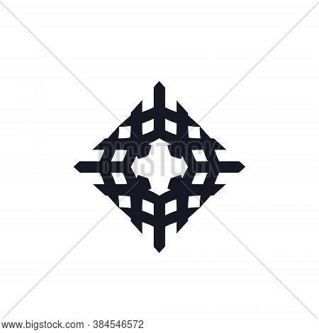 Rhombus Logo Cube Block Element Perspective Geometric Pattern Abstract Design Vector Line Art Geomet