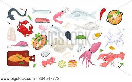 Seafood Fish Menu Restaurant Icons Set With Sea Food, Crab, Shrimps, Shell L Isolated Vector Illustr