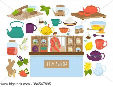 Tea Set Of Isolated Vector Illustration. Icons Of Teapot, Mutcha, Kettles Collection. Teabag, Lemon,