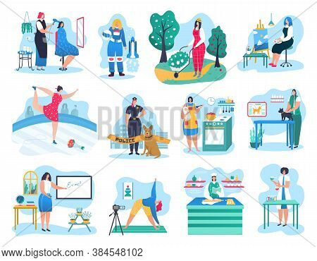 Woman Professions Vector Illustrations Set. Policeman, Doctor, Electrician Or Florist, Pilot, Busine