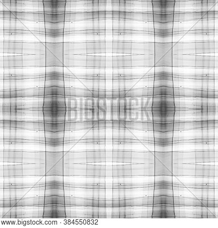 Gray And White Scottish Check. Watercolour Tartan Material. Color Geometric Stripes For Tweed Design