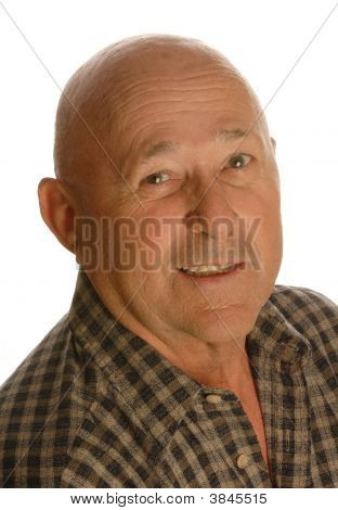 portrait of happy bald senior man isolated on white background poster