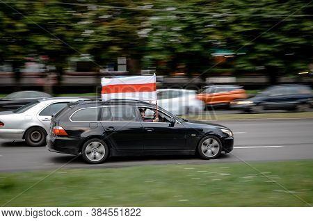 Minsk, Belarus - August 21, 2020: Belarusian People Participate In Peaceful Protest After Presidenti
