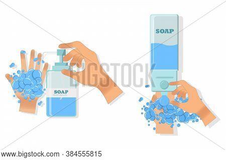 Close-up Hands Using Hand Sanitizer Gel Pump Dispenser.  Wall Mounted Soap Dispenser. Wall Hanging H