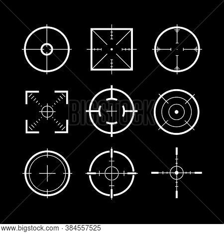 Target Destination Weapon Signs White Thin Line Icon Set Symbol Of Focus And Accuracy On A Black. Ve