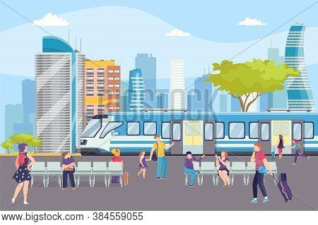 Train In Subway Station In Metro Underground, Modern Ferry Station, Urban Transport Vector Illustrat