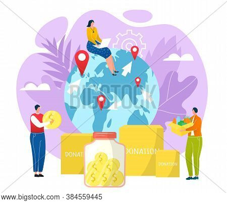 Goodwill Concept, Charity And Donation Vector Illustration. People Carrying Money, Donation Boxes Fi