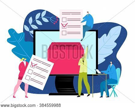 Vote Concept In Flat Style, Election In Government Vector Illustration. People Voting, Putting Paper