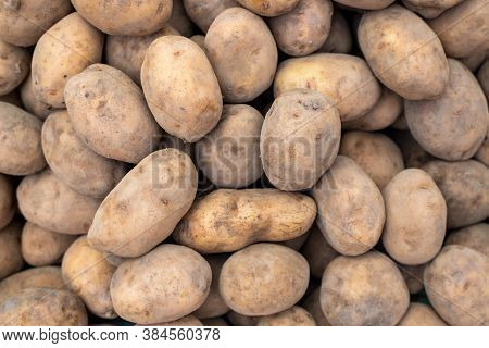 Fresh Raw Potato Pile, Top View Photo Texture. Rich Protein Food Ingredient. Raw Potato For Chips Or
