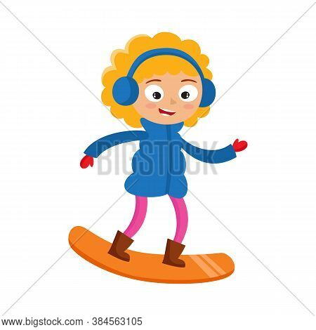 Cartoon Teenaged Girl With Snowboard, Cartoon Vector Illustration