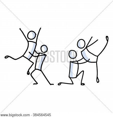 Hand Drawn Gay Male Stickman Ballet Dancer Set Concept. Simple Outline Two Male Ballerina Couple Doo