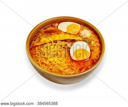 Noodle In Bowl With Vegetables And Pork Balls Isolated On White Background With Clipping Path, Asia