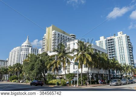 Miami Beach, Florida - May 15, 2019: Ocean Drive Hotels And Buildings In Miami Beach, Florida. Art D