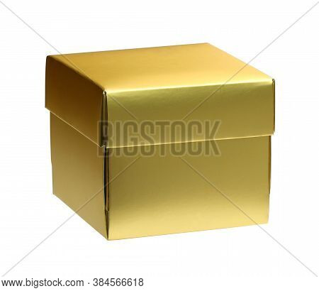 Paper Gold Gift Box With Cap (included Clipping Path) Isolated On White Background