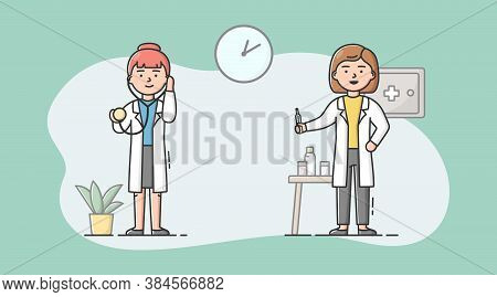 Medical Staff, Healthcare And Medicine Concept. Hospital Staff Nurses Women With Thermometer And Ste