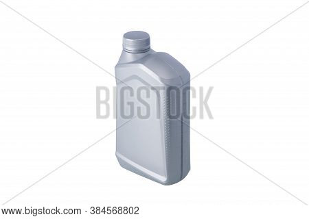Grey One-litre Bottle With Engine Oil, Isolate