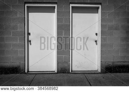 Two white doors with handles representing choices and options in life or business