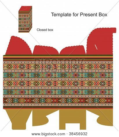Present Box With Ethnic Ornaments