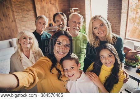 Closeup Portrait Photo Of Full Big Family Gathering Eight People Make Selfie Cuddle Embrace Wait Pra