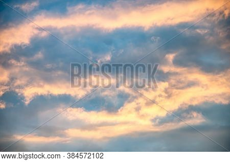 Beautiful Cloudscape With Sunray Bright Color Blue And Red