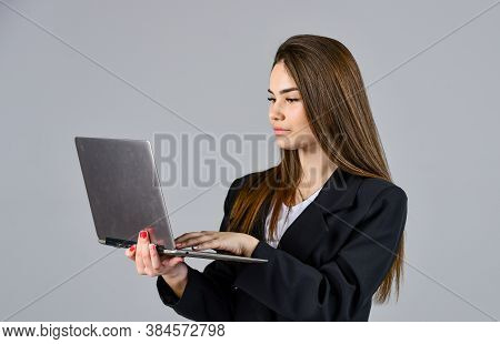 Woman With Modern Lightweight Portable Laptop Working Online, Check Email Concept