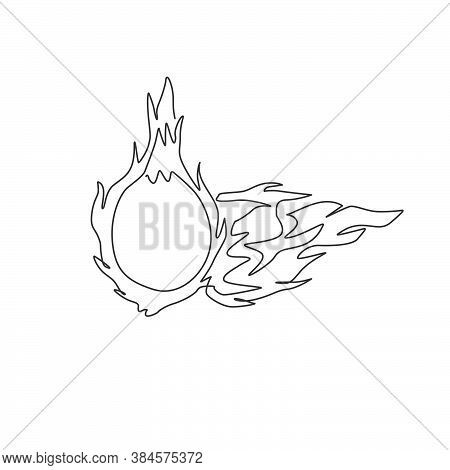 One Single Line Drawing Of Whole Healthy Organic Dragon Fruit For Orchard Logo Identity. Fresh Drago
