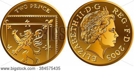 Vector British Gold Coin Two Pee Or 2 Pence, Reverse With Segment Of Royal Shield, Obverse With Quee