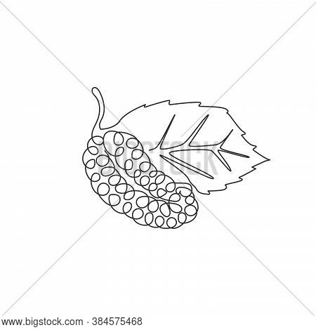 Single Continuous Line Drawing Of Whole Healthy Organic Mulberry For Orchard Logo Identity. Fresh Be