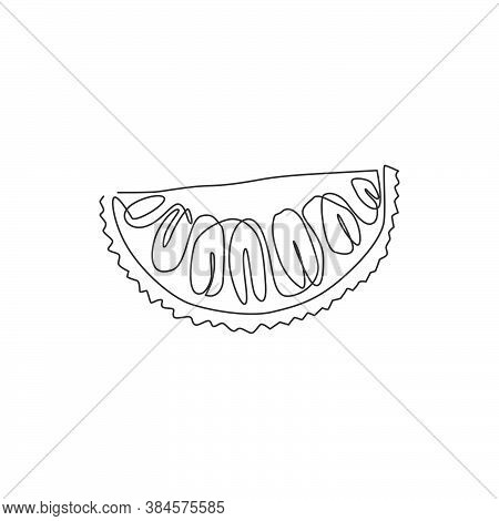 Single Continuous Line Drawing Sliced Healthy Organic Jackfruit For Orchard Logo Identity. Fresh Tro