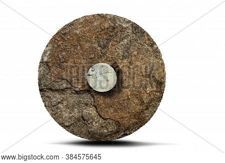 Prehistoric Stone Wheel With Wooden Axle Isolated On White Background